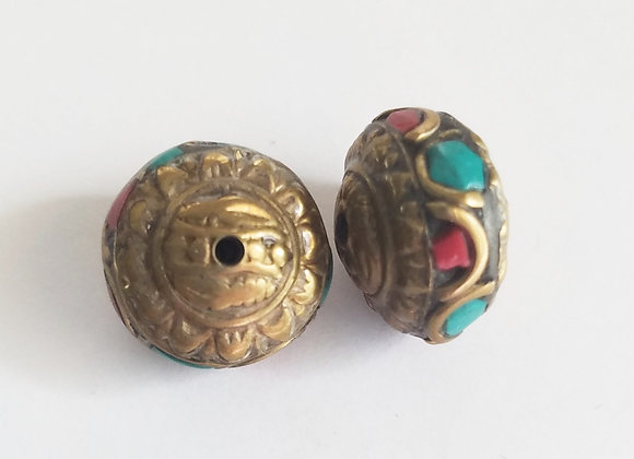 Small Brass Turquoise and Coral Inlay Rondell Bead