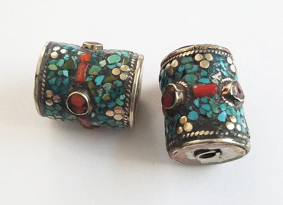 Large Hole, Large White Metal Tibetan Turquoise Inlay  Bead