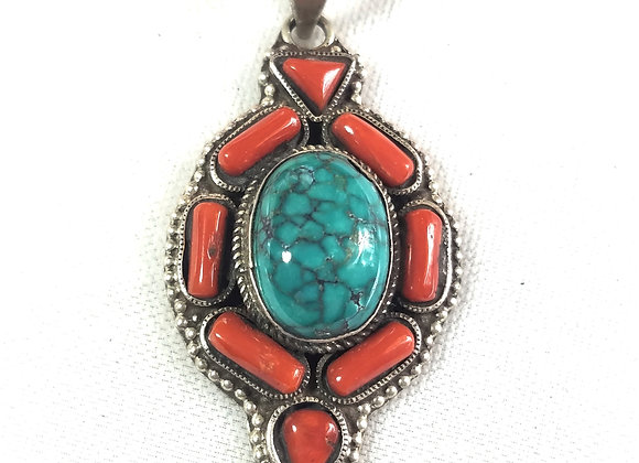 Tibetan Turquoise and Coral Sterling Pendant