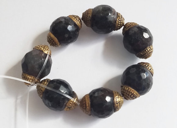 String of 7 Brass Mottled Gray Beads