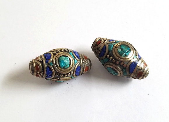 Double Point Lapis, Turquoise and Coral Inlay Bead