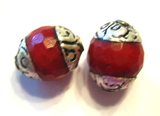 Small faceted sponge coral tibetan bead