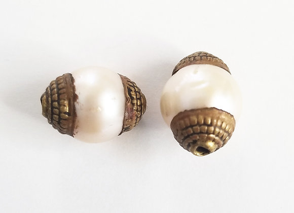 Brass Pearl Bead with a Hint of Pink