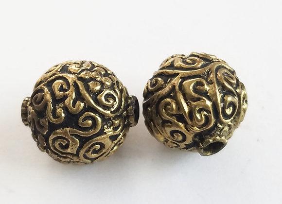 Round Brass Tibetan Bead