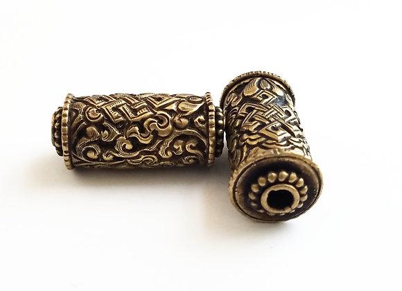 Endless Knot Brass Cylinder Bead