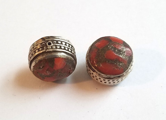 Coral Inlay Tibetan Bead with Silver Band