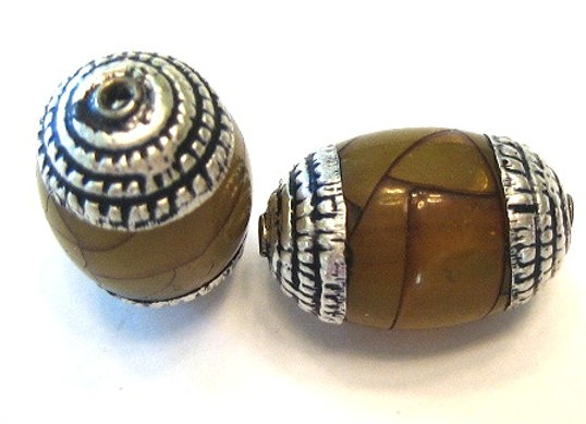 Small Tibetan Yellow Crackle Bead with rope pattern cap