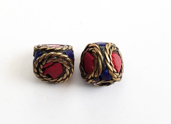 Set of 2 Brass Lapis and Coral  Bead