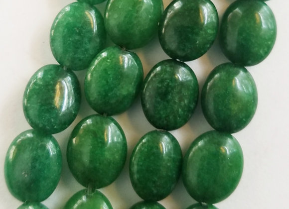 "Green Jade 3/8"" Oval Beads Bead String"