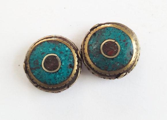 Eye Brass Tibetan Bead