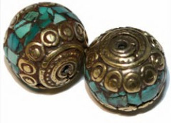 Brass Turquoise Inlay Bead