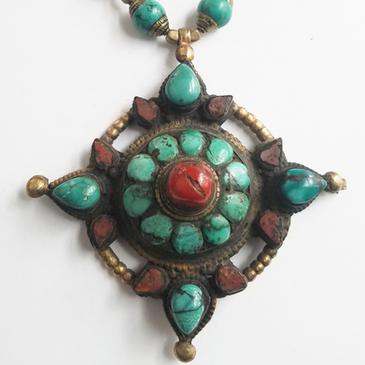 Vintage Tibetan Pendant Necklace