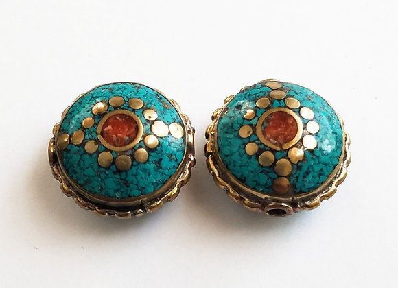 Brass Turquoise Color Enamel Bead