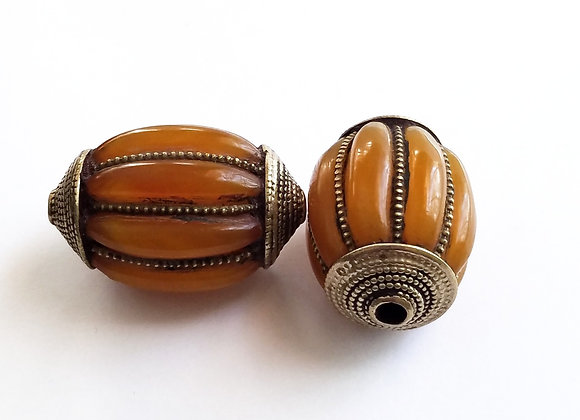 Large Resin Amber Bead with Brass Cage