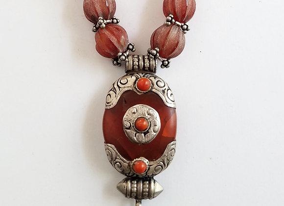 Tibetan Carnelian Pendant with Carved Carnelian Beads
