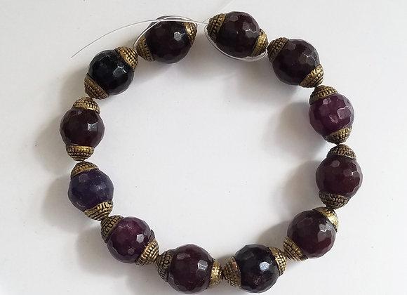String of 12 Brass Dark Ruby Color Beads