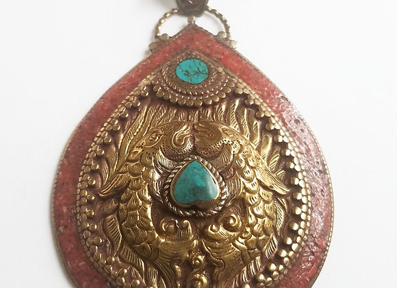 Very Large Tibetan Turquoise and Coral Inlay Pendant with two fishes