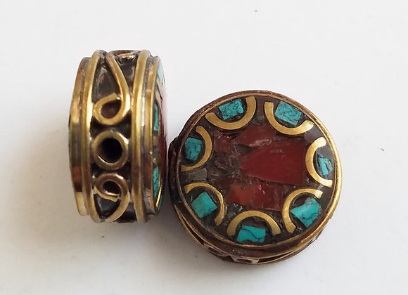 Round Brass Turquoise and Coral Inlay Bead