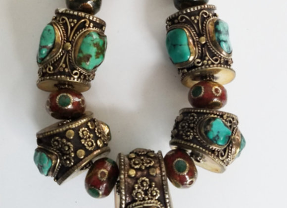 Tibetan Brass Necklace with Turquoise Nuggets Necklace