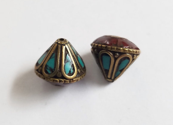 Set  of 2 Cone Shape Turquoise and Coral Inlay Bead