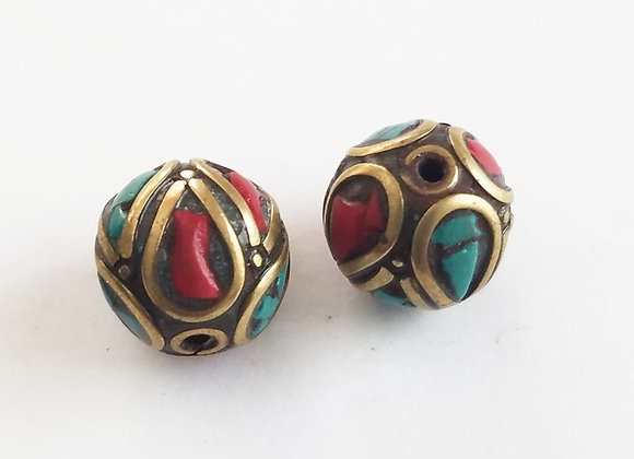 Small Tibetan Turquoise and Coral Inlay Bead