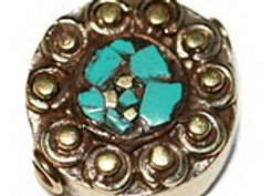 Brass Bead with turquoise eye