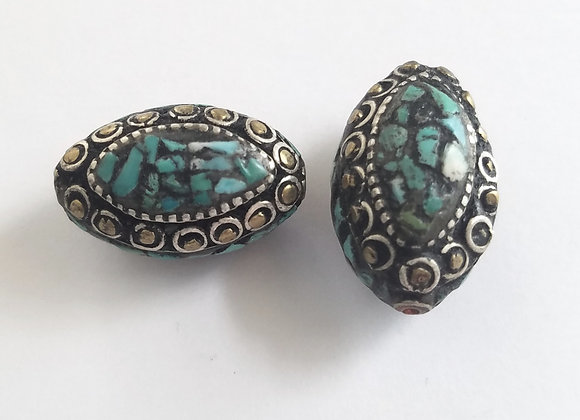 White Metal and Brass Turquoise Inlay bead