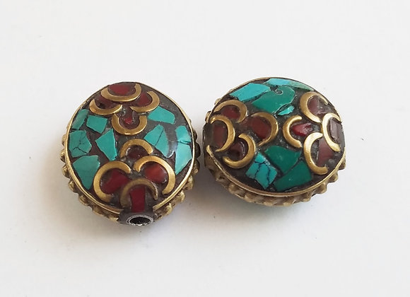 Brass Turquoise Inlay Double Flower Bead