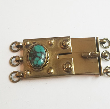 3 strand clasp Tibetan Turquoise and Brass