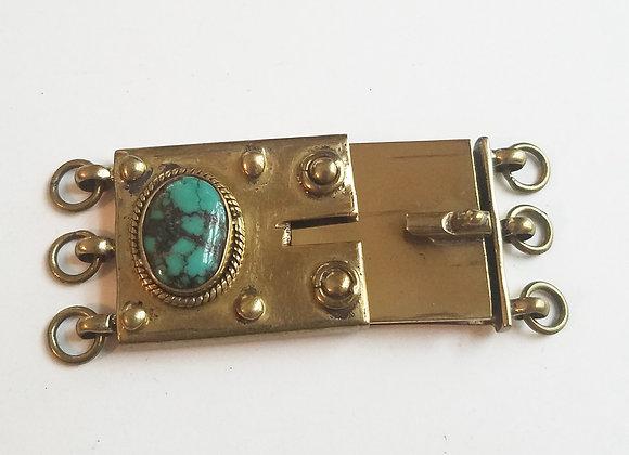 Unique 3 strand Tibetan Box Clasp brass with turquoise cabochon