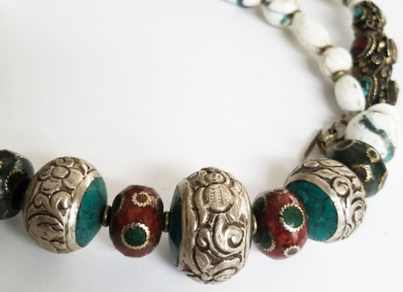 Tibetan Brass Necklace with Conch Shell Beads Necklace