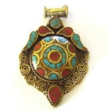 Tibetan Inlay Brass Pendant