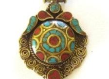 Brass Inlay Shield Pendant