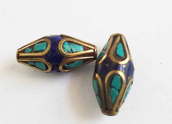 Set of two inlay Turquoise and Lapis Beads