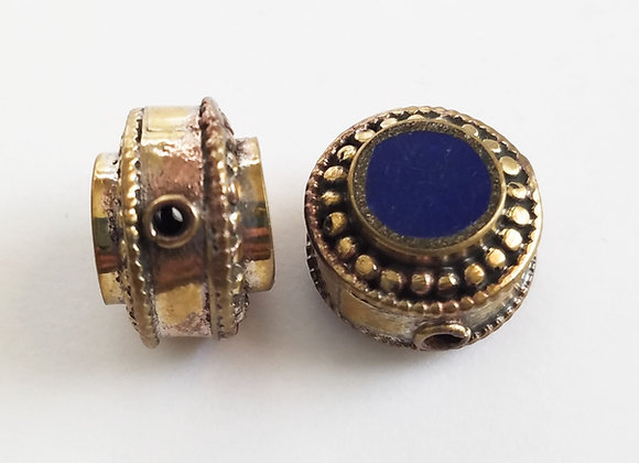 Brass Lapis Color Enamel Bead