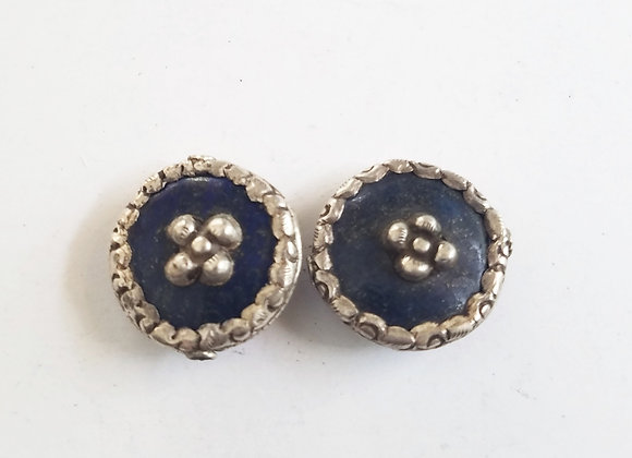 Lapis disc shape tibetan bead with silver band and flower center