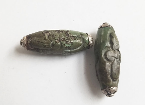 Tibetan Flower Carved Green Turquoise Bead