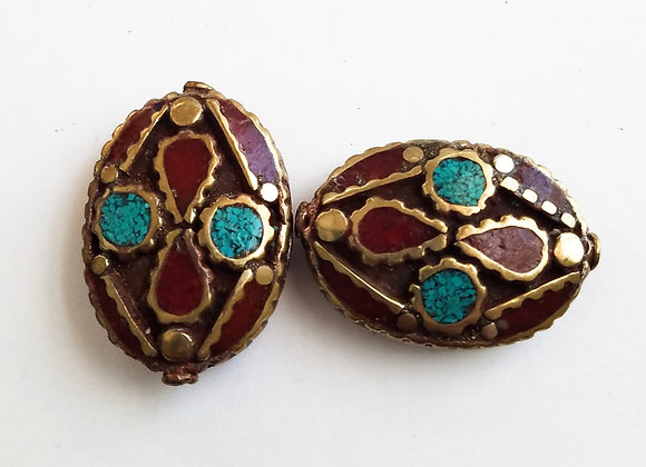 Large Brass Inlay and Enameled Bead