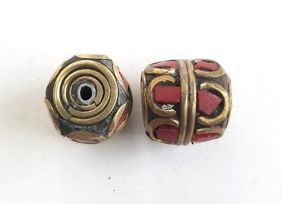 Coral Inlay Brass Tibetan Bead