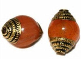 Small Brass Carnelian Bead