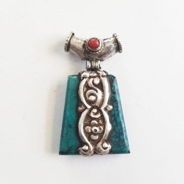 Tibetan Turquoise Pendant with Repousee detail