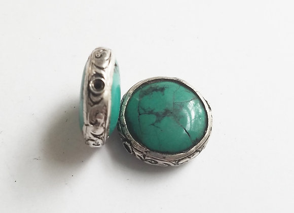 Turquoise Coin Shape Tibetan Bead with Silver Band
