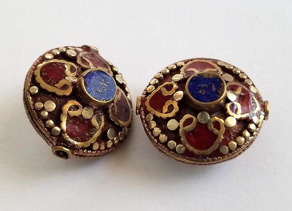 Large Brass Lapis and Coral Color Enamel Bead