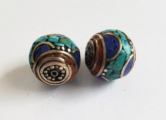 Round Lapis, Turquoise and Coral Inlay Bead