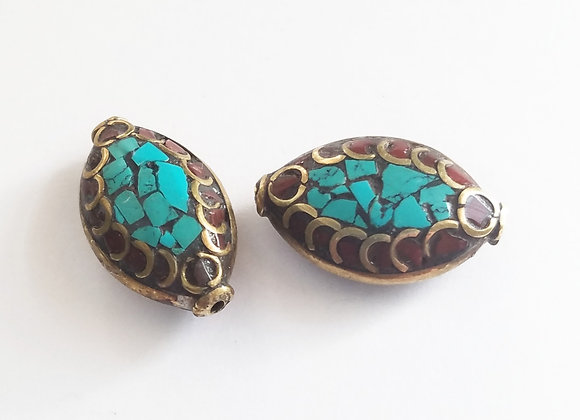 Brass Coral and Turquoise Bead