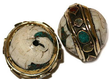 Brass and Conch Shell bead with inlay band
