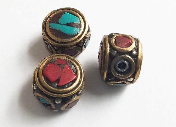 Small Brass Bead with Turquoise and coral Inlay