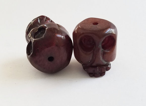 Burgundy Color Jade Skull