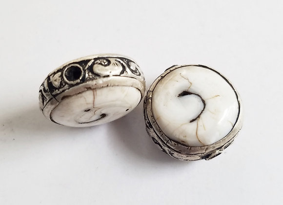 Conch Disc Shape Tibetan Bead with Silver Band