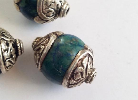 Chrysocolla Heavy Cap Tibetan Bead